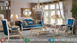 Set Sofa Tamu Jepara Mewah Terbaru Duco Ivory Gold Awesome Blue MM-0262