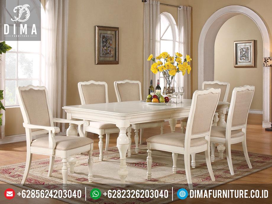 Set Meja Makan Minimalis Mewah Jepara Duco Putih Mm-0027