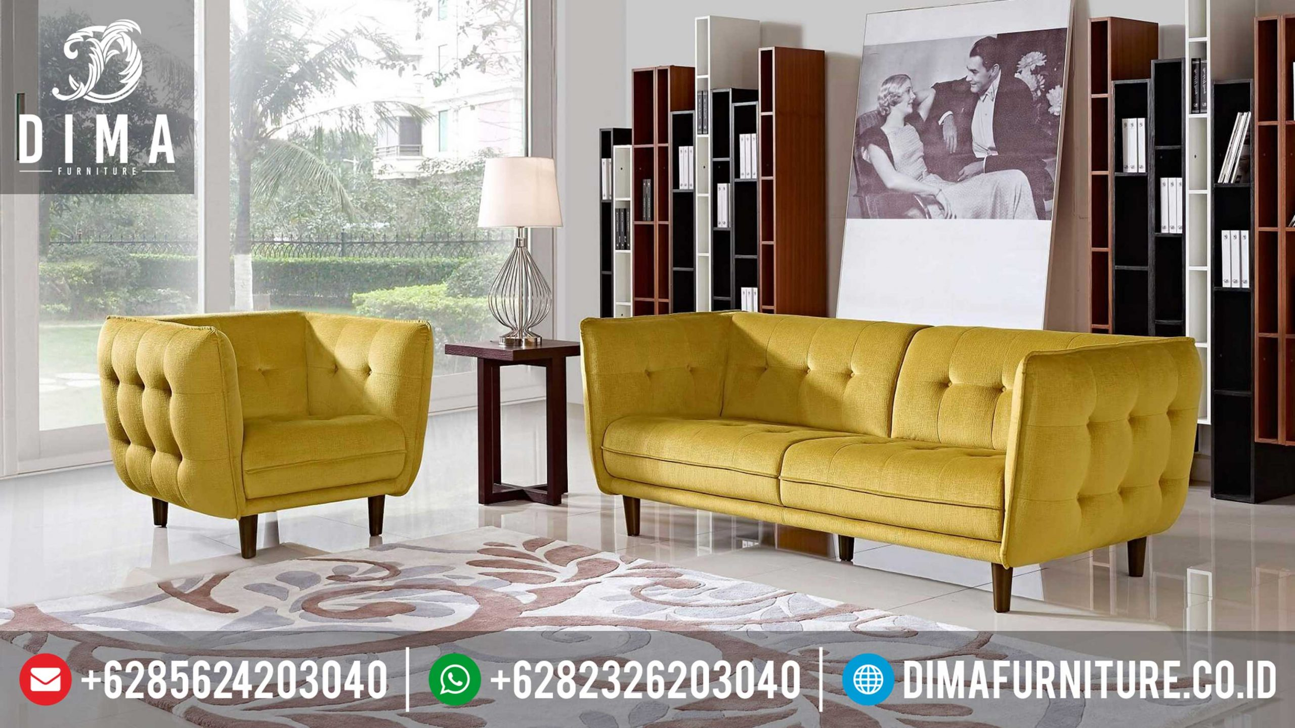 Sofa Tamu Minimalis Modern Terbaru Vanice Canvas Yellow MM-0071