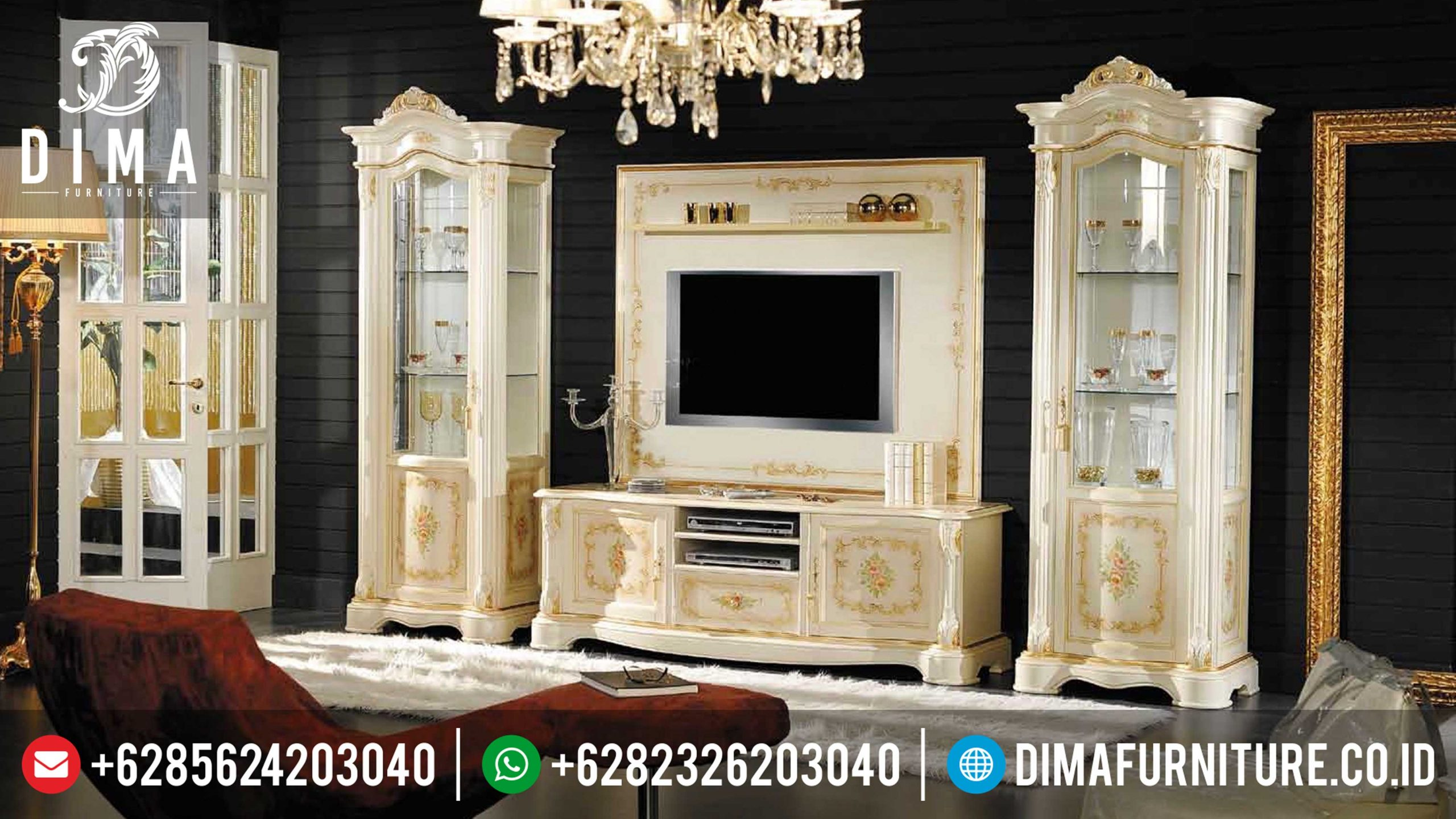 Bufet Tv Mewah Minimalis Terbaru Jepara Duco Putih Mm-0093