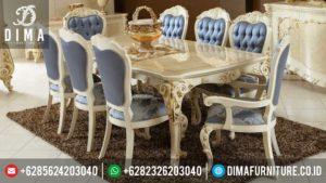 Mebel Murah Jepara Set Meja Makan Mewah Minimalis Terbaru Duco Putih Emas MM-0090