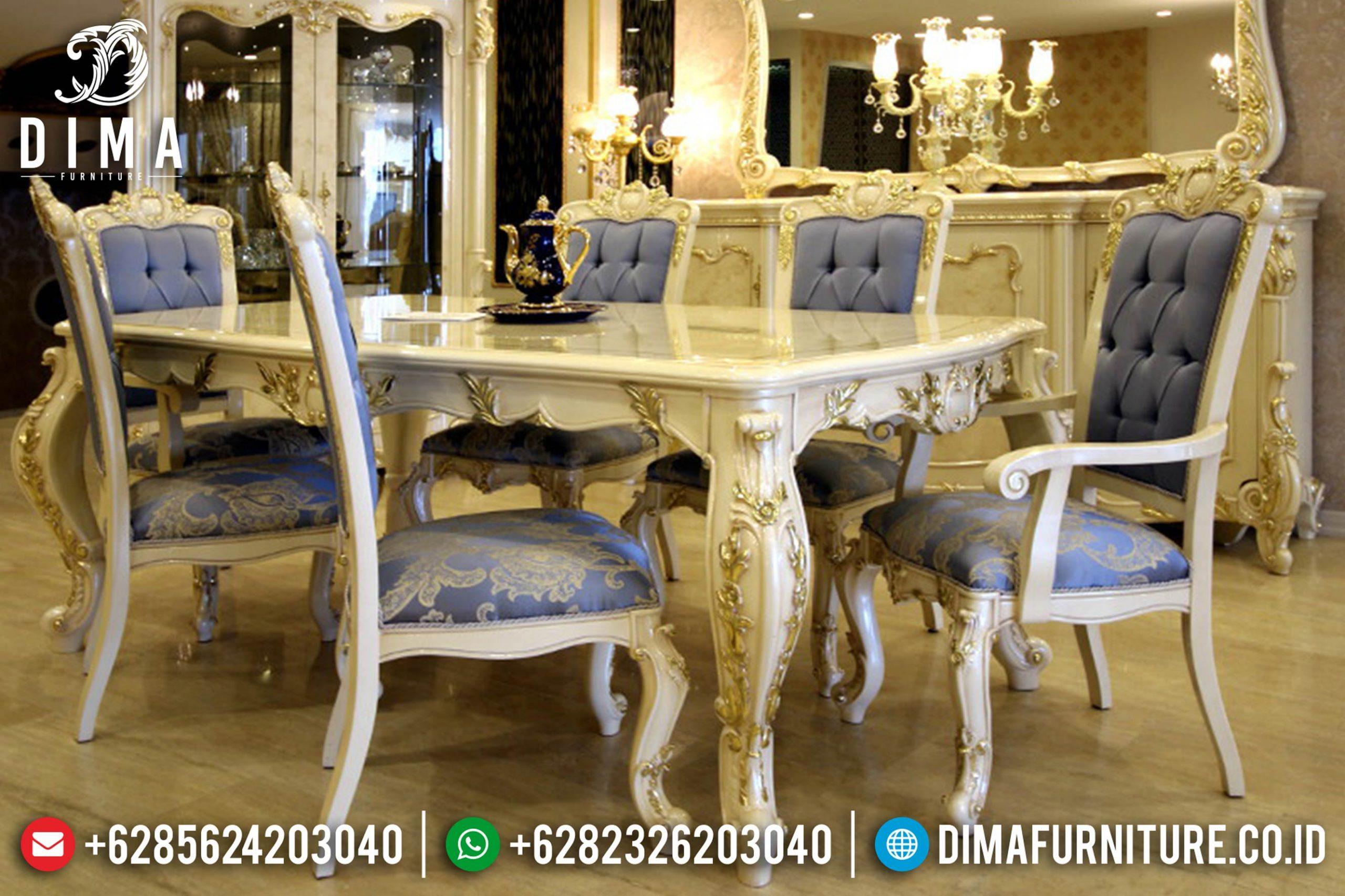 Meja Makan Jepara Mewah Terbaru Duco Ivory Erciys Mm-0143