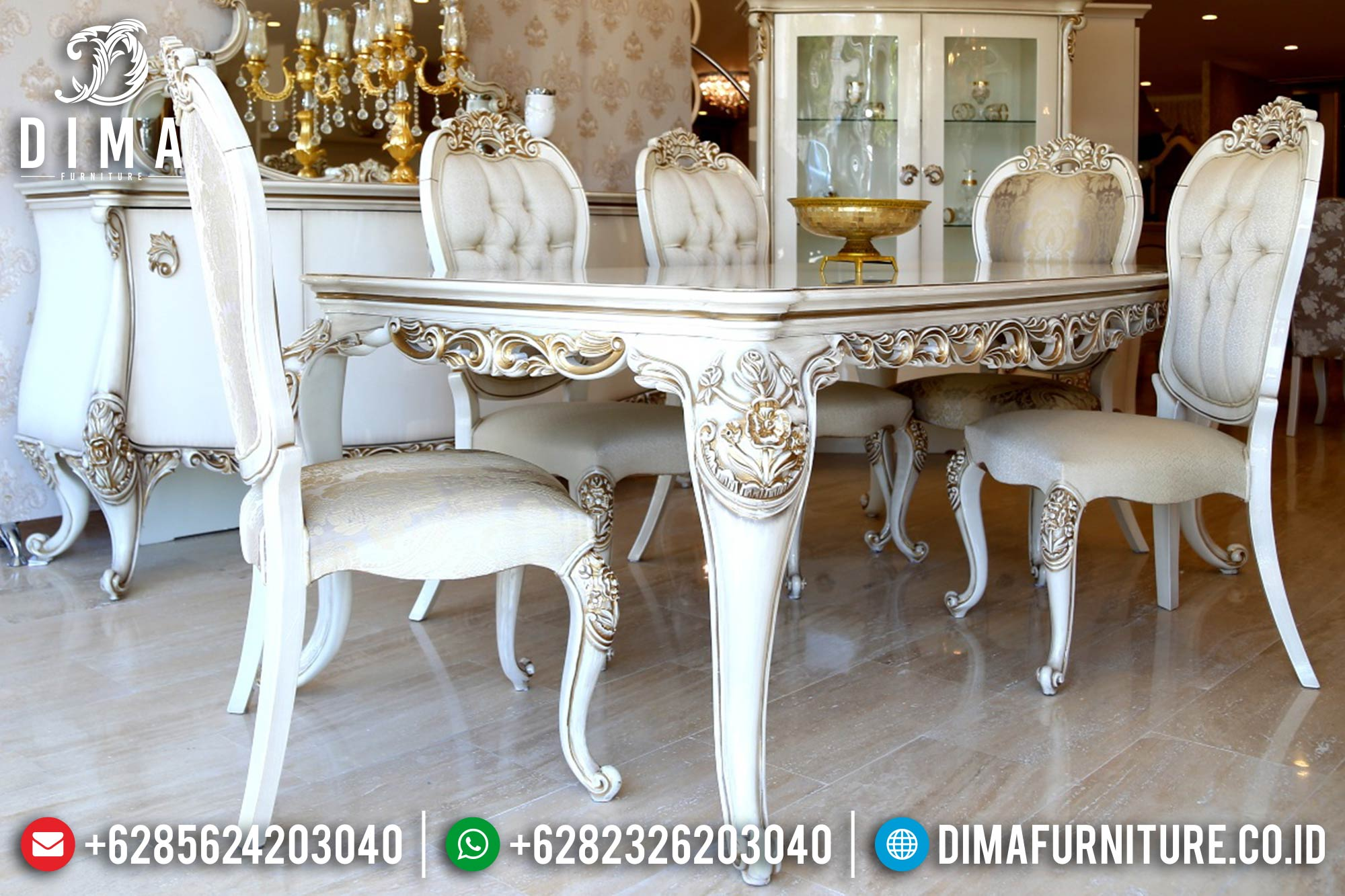 Meja Makan Mewah Jepara, Meja Makan Minimalis Murah, Set Meja Makan Terbaru MM-0128