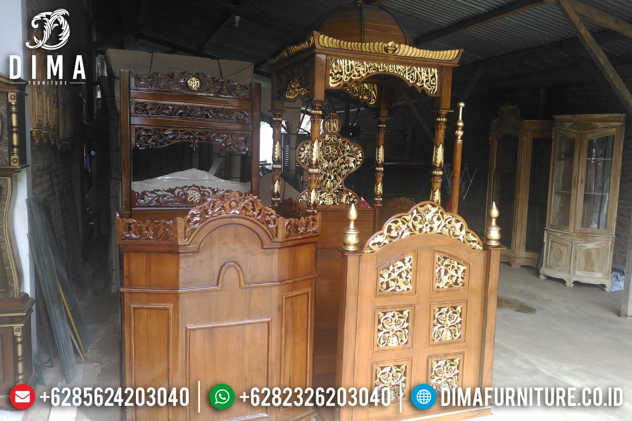 Mimbar Masjid Jati Ukiran Jepara Model Terbaru Harga Murah MM-0137