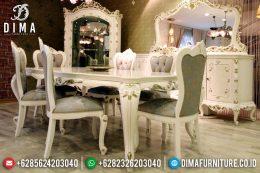 Mebel Jepara Terbaru Set Meja Makan Mewah Weymo Luxury Duco Ivory Emas MM-0205