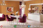 Meja Makan Jepara Minimalis Mewah Terbaru Duco Putih Full Cover MM-0175
