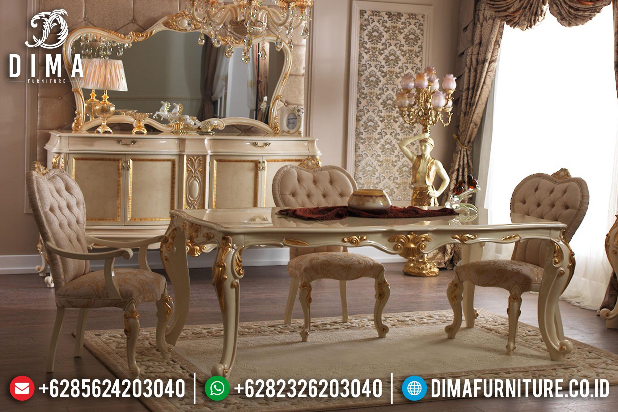 Meja Makan Mewah Jepara Ukiran Klasik Terbaru Duco Ivory Emas MM-0177