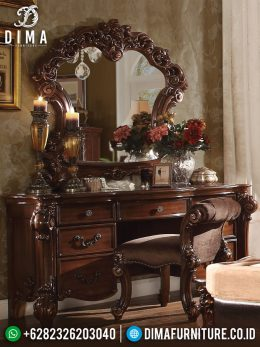 Meja Rias Jati Jepara Mewah Terbaru Ukiran Klasik Luxury MM-0198
