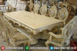 Set Meja Makan Mewah Jepara Klasik Terbaru Minerva Duco Ivory Emas MM-0203