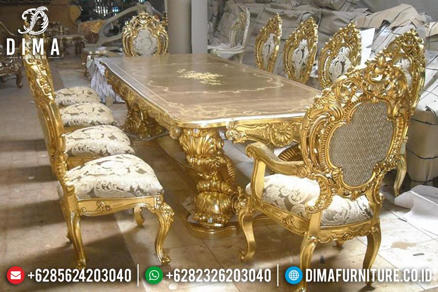 Set Meja Makan Mewah Jepara Klasik Terbaru Minerva Duco Ivory Emas MM-0203 Gambar 1