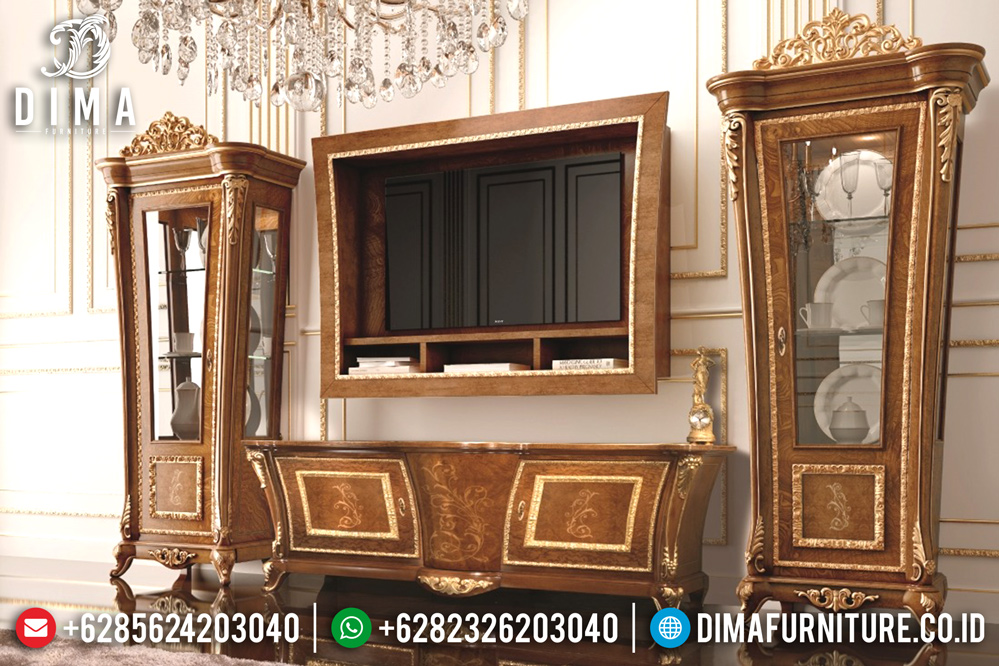 Lemari Hias Jati Mewah, Bufet TV Mewah Jepara, Buffet TV Jepara Terbaru MM-0224
