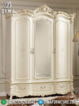 Lemari Pakaian Jepara Mewah Terbaru Ukiran Klasik Luxury Duco Putih MM-0214
