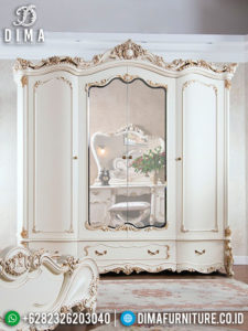 Lemari Pakaian Mewah Jepara Terbaru Seri Eleonora Duco Ivory Emas MM-0215