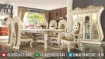 Furniture Terbaru Meja Makan Mewah Jepara Duco Ivory Klasik European Style MM-0248
