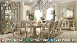 Meja Makan Mewah Jepara Terbaru Ukiran Klasik European Duco Ivory Silver MM-0246