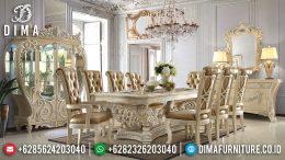 Meja Makan Mewah Klasik Mebel Jepara Terbaru Finishing Duco Ivory Silver MM-0249
