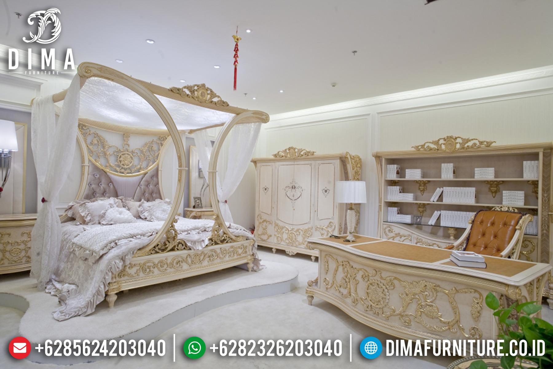 Kamar Set Mewah Klasik Ukiran Jepara Kanopi Raffles Ivory Emas MM-0253