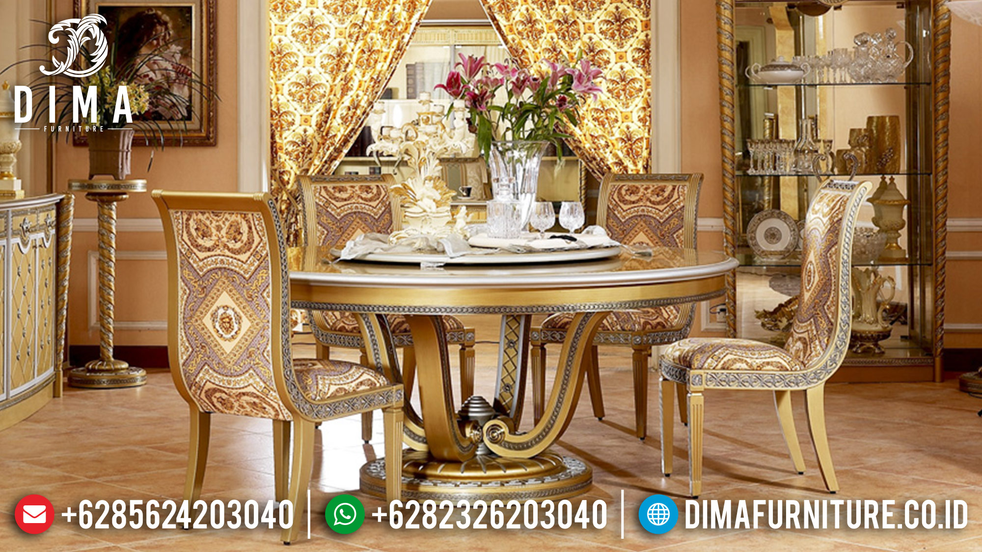 Luxury Furniture Set Meja Makan Mewah Jepara Duco Emas Silver MM-0257