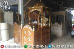 Mimbar Masjid Jati Jepara Finishing Natural Emas MM-0274