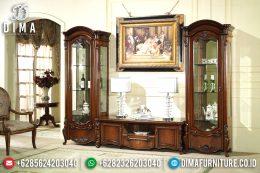 Bufet TV Jepara Mewah Ukiran Klasik Minimalis Jati TPK Natural MM-0318