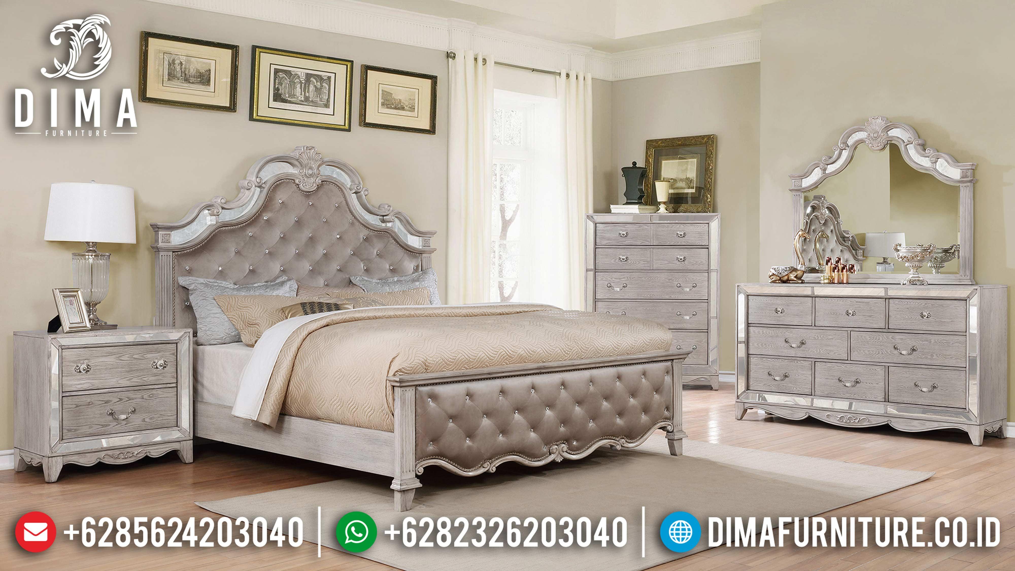 Mebel Jepara Terbaru 1 Set Tempat Tidur Mewah Classic Duco Broken White MM-0315