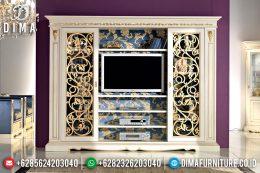 Set Bufet TV Jepara Minimalis Mewah Seri Amadeus Duco Ivory Emas MM-0317