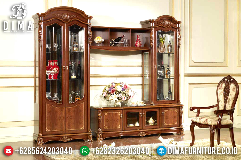 Set Bufet TV Mewah Lemari Hias Jati Mebel Jepara Terbaru Victorian MM-0319
