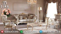 1 Set Sofa Tamu Mewah Jepara Seri Abide Klasik Terbaru Ivory Emas MM-0343
