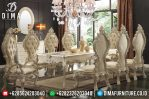 Jual 1 Set Meja Makan Mewah Klasik Ukiran Jepara Terbaru Duco Ivory MM-0335