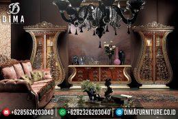 Bufet TV Mewah Jepara Full Ukiran Klasik Terbaru Emas Natural MM-0357