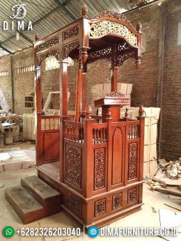Mimbar Masjid Jati Jepara Ukiran Klasik Natural Model Terbaru MM-0353