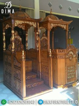 Mimbar Masjid Jepara Jati Model Ukiran Terbaru Natural Emas MM-0355