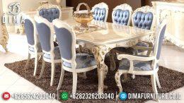 Desain Furniture Indonesia Meja Makan Jepara Mewah Minimalis Putih Emas MM-0378