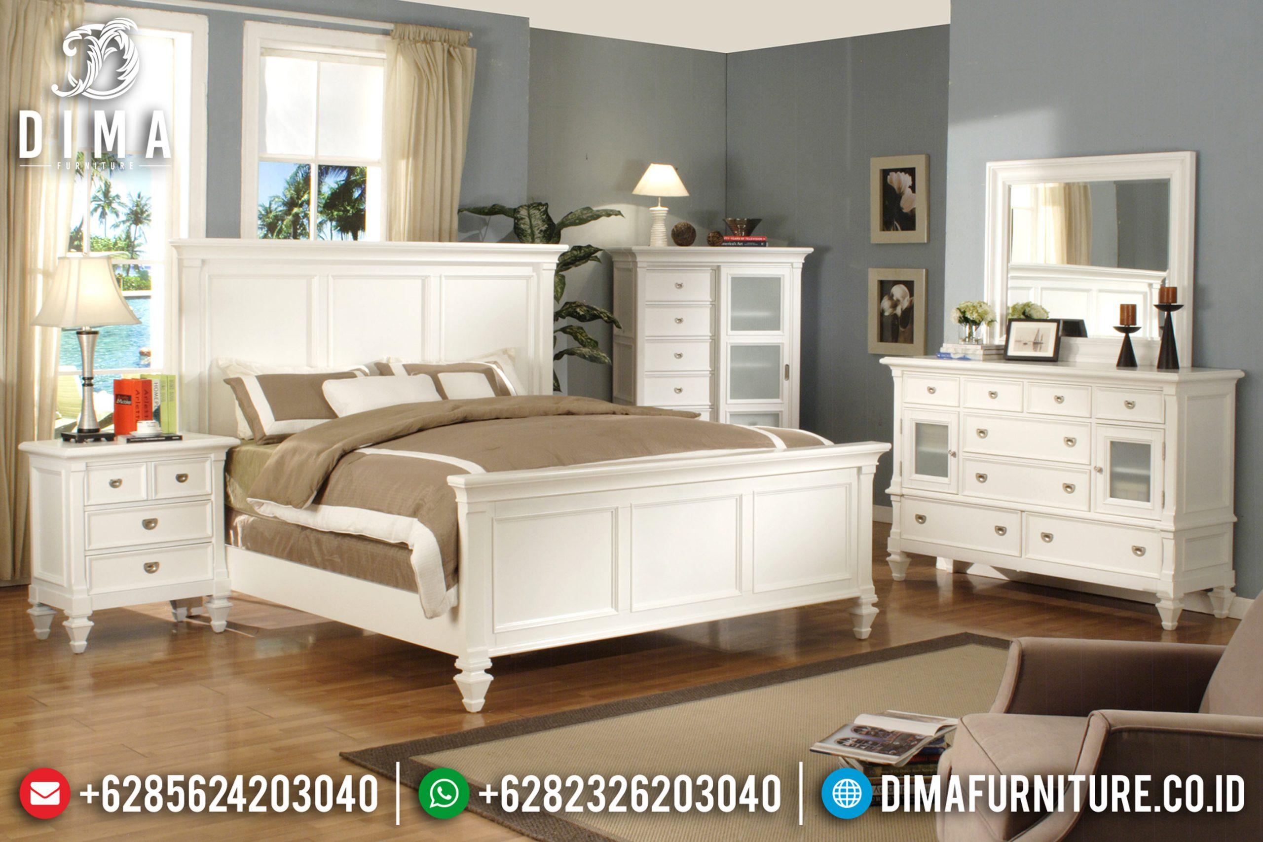 Jual 1 Set Tempat Tidur Minimalis Duco Putih Mebel Jepara Terbaru MM-0369