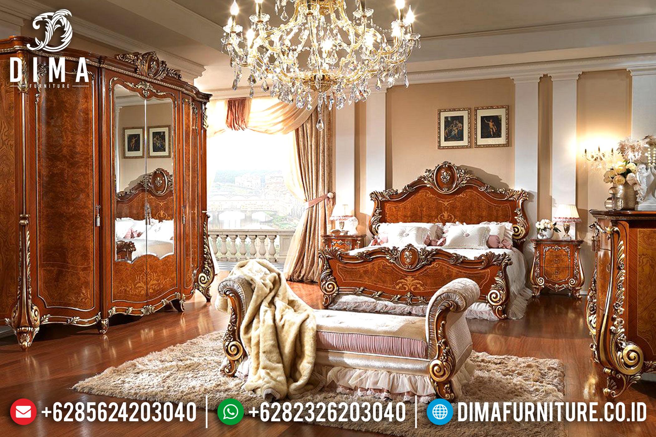 Kamar Set Ukiran Klasik Firenze Tempat Tidur Jepara Mewah Natural Terbaru Mm-0375