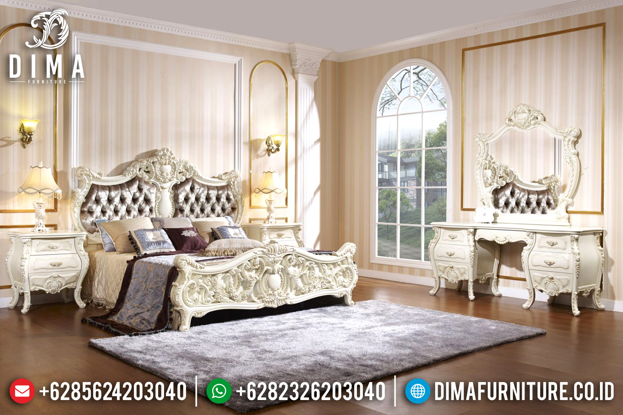 Tempat Tidur Jepara Mewah, Ranjang Pengantin Klasik, Kamar Tidur Jepara Terbaru MM-0372
