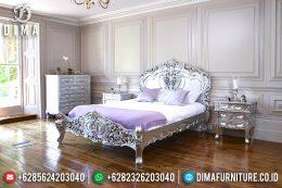 Tempat Tidur Jepara Rococo Mewah Klasik Duco Silver Leaf Italian MM-0364