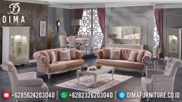 Jual Set Sofa Tamu Minimalis Jepara Rangka Jati Cover Bludru MM-0402