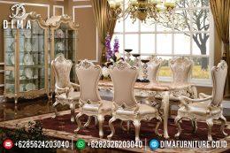 Kursi Meja Makan Jepara Ukiran Klasik Mewah Duco Ivory Mutiara MM-0386
