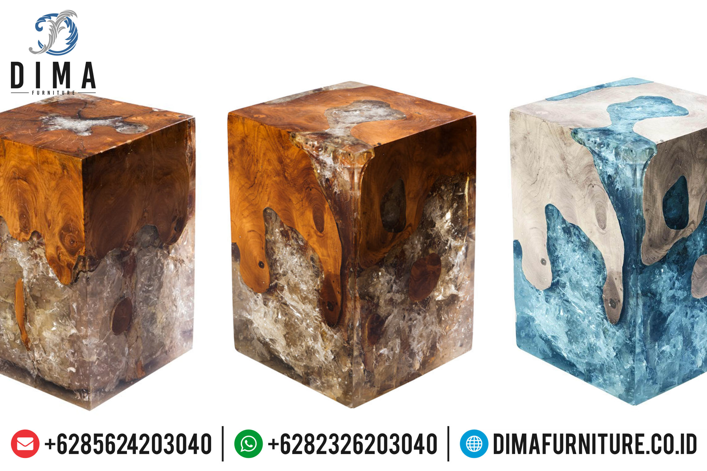 Resin Furniture Indonesia, Meja Resin Minimalis, Stool Kayu Resin Murah MM-0380