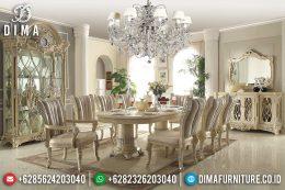 Set Meja Makan Mewah Jepara Klasik Duco Minerva Ivory Silver MM-0388