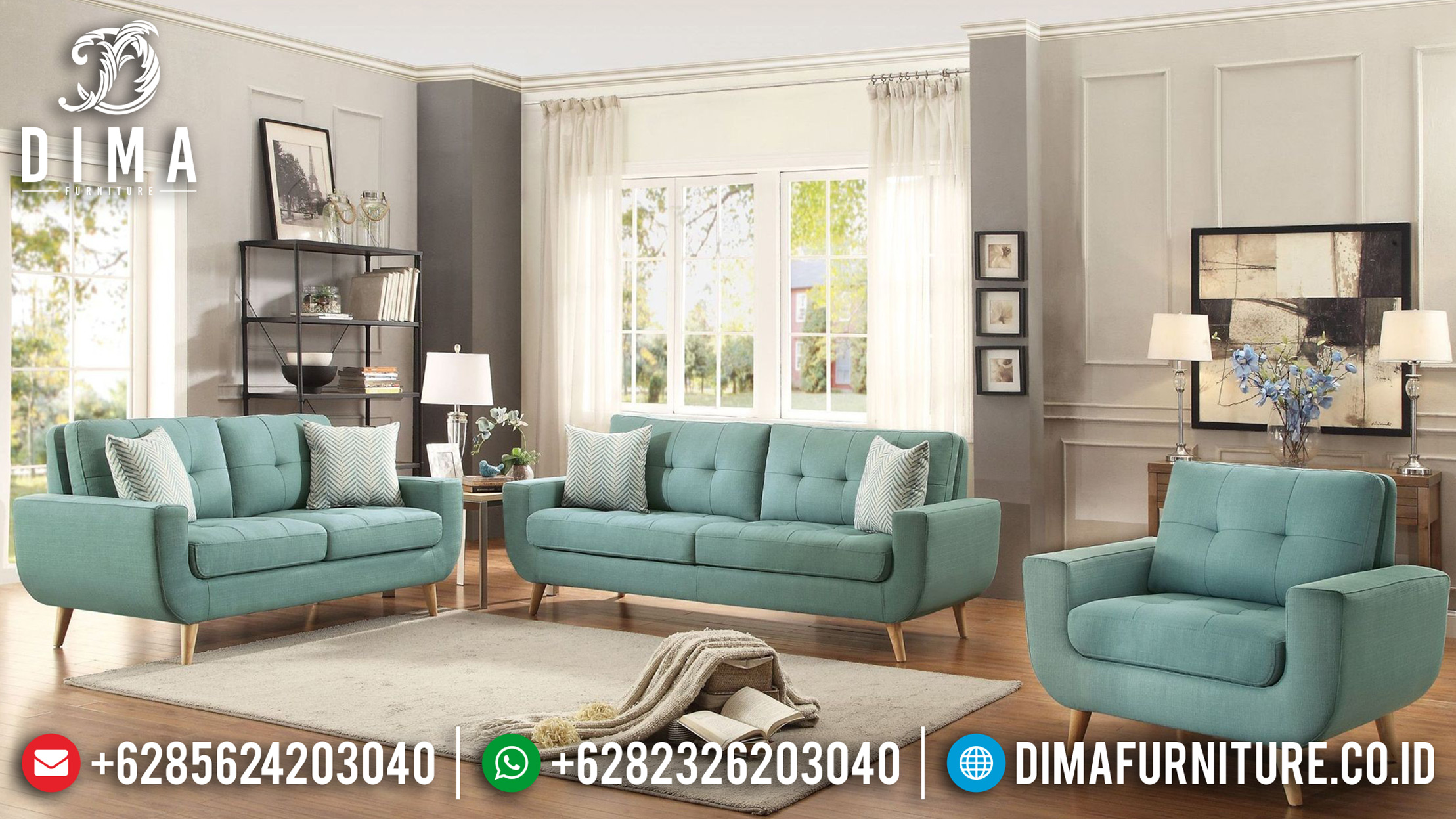Set Sofa Tamu Jepara Minimalis Loveseat Home Elegan Rangka Jati MM-0400