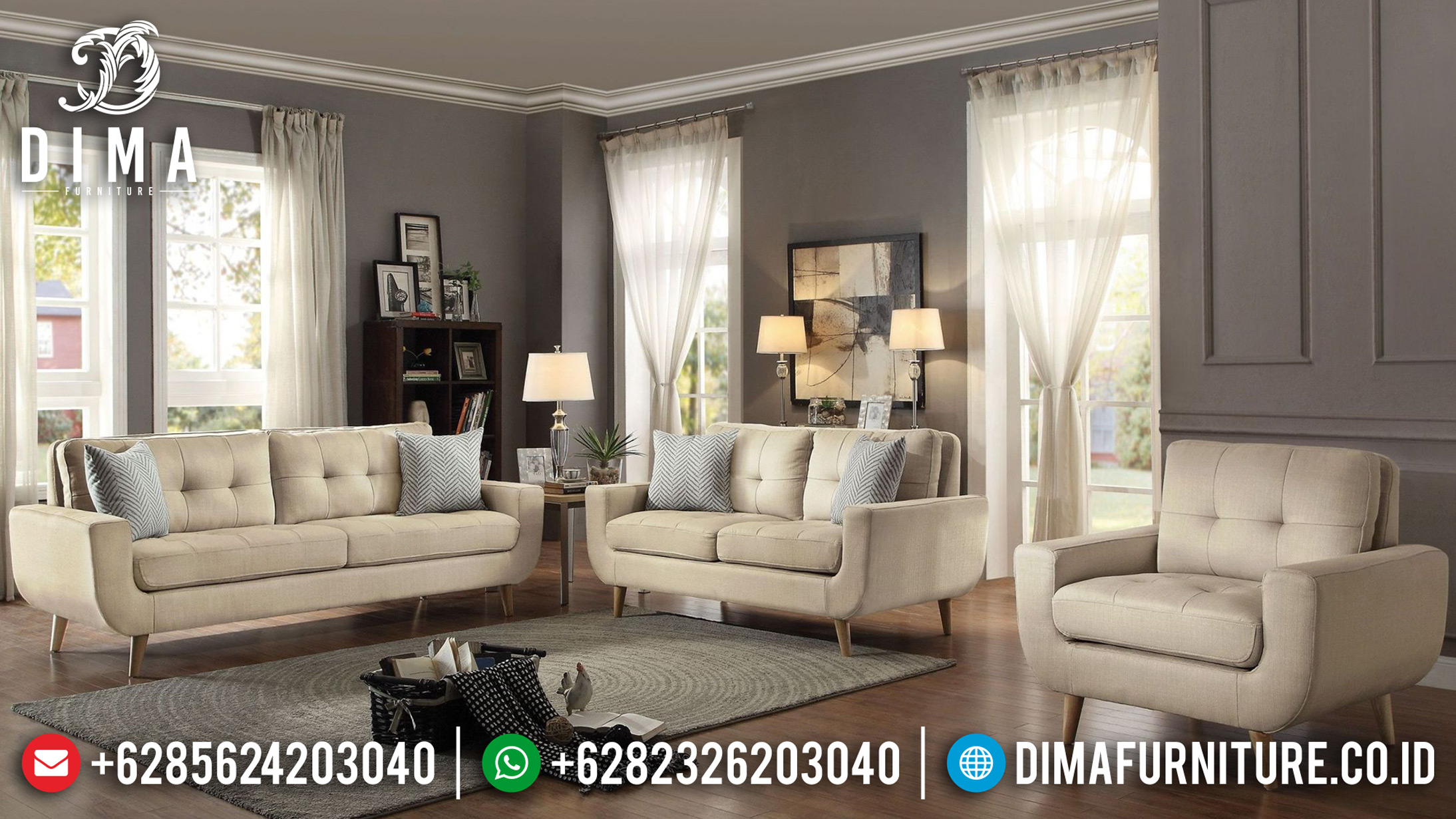 Set Sofa Tamu Minimalis Jepara Model Terbaru Amira Fabric MM-0404