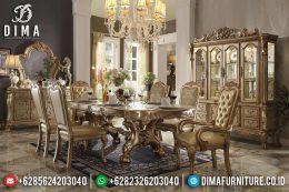 Set Meja Kursi Makan Mewah Duco Emas Klasik Terbaru MM-0426