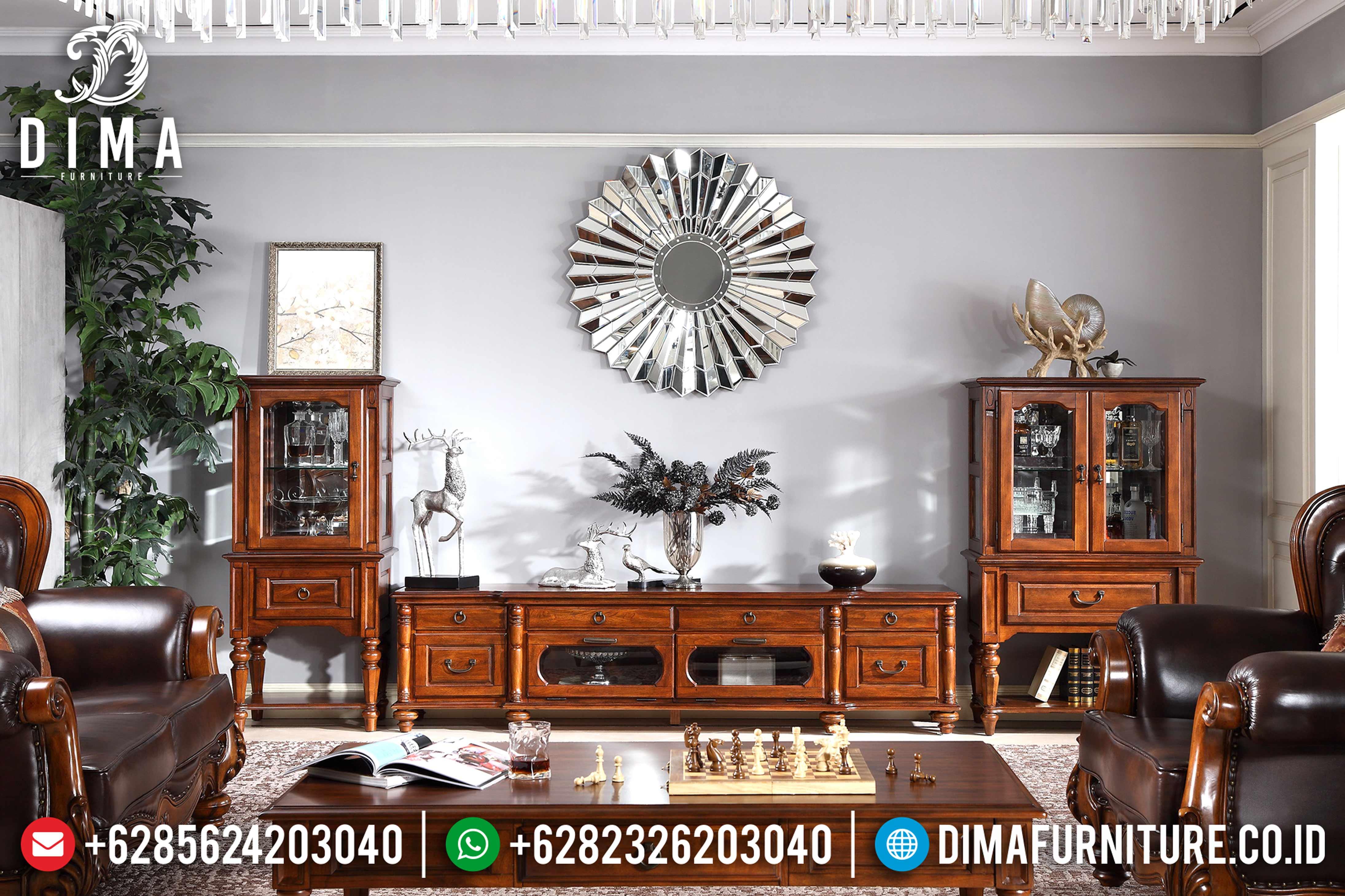 Set Bufet Tv Jati Mewah Klasik Mebel Jepara Terbaru MM-0461