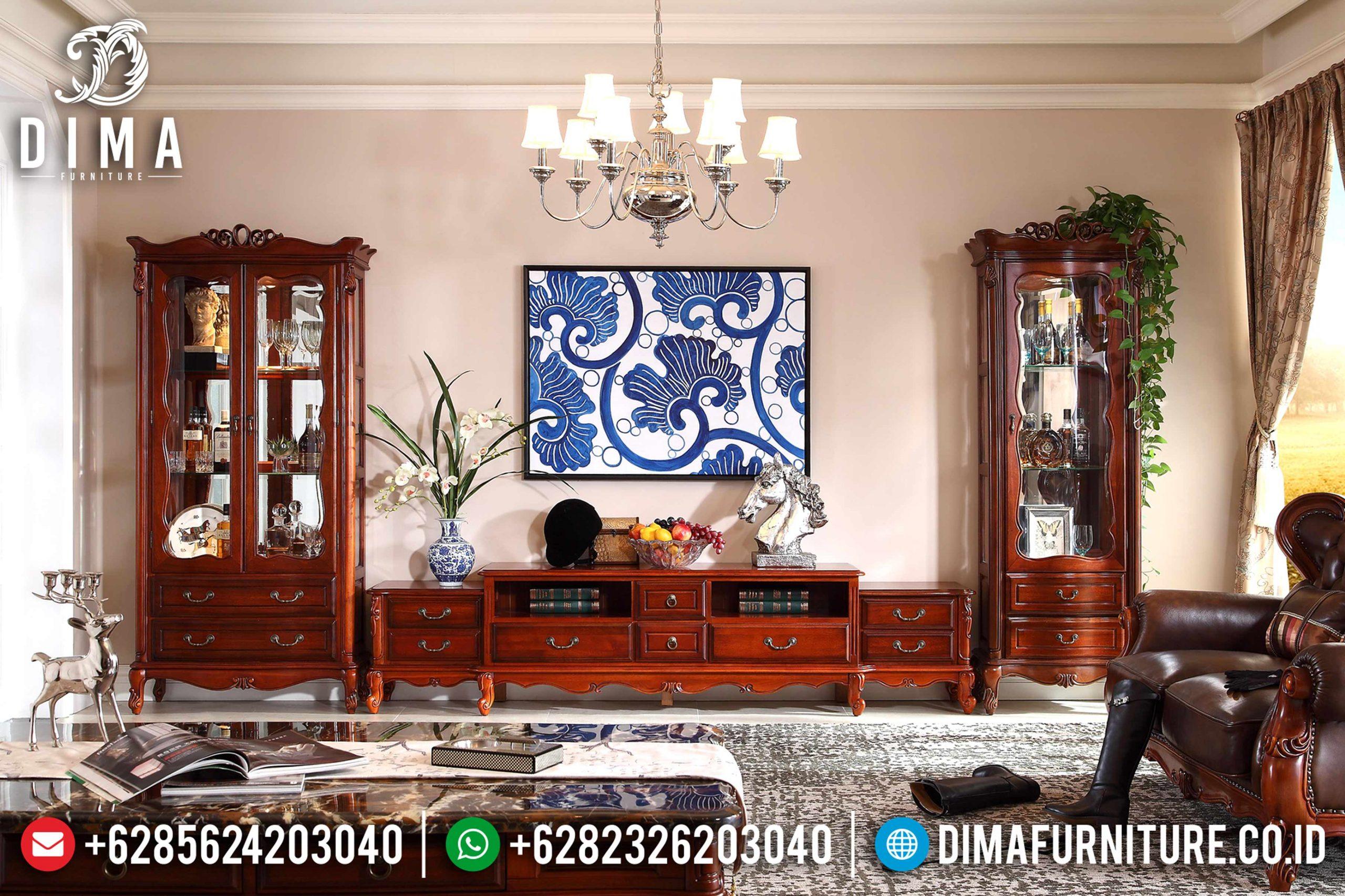 Set Bufet Tv Klasik Modern Natural Jati Terbaru MM-0459