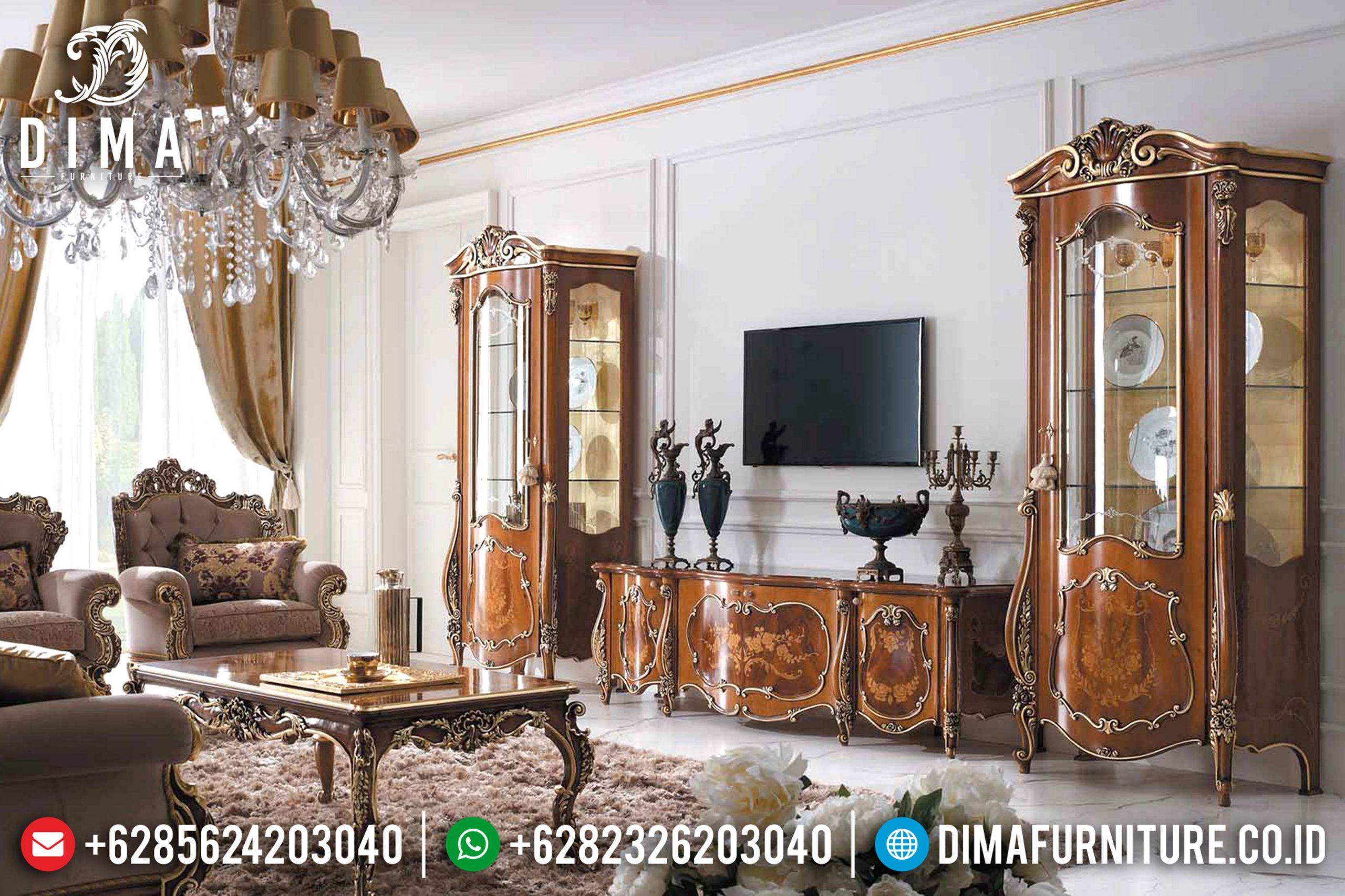 Set Bufet Tv Mewah Jati Natural Kombinasi Terbaru MM-0458