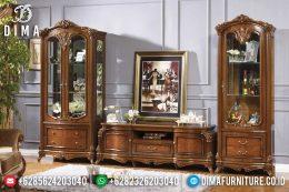 Set Bufet Tv Mewah Kayu Jati Natural Terbaru MM-0442