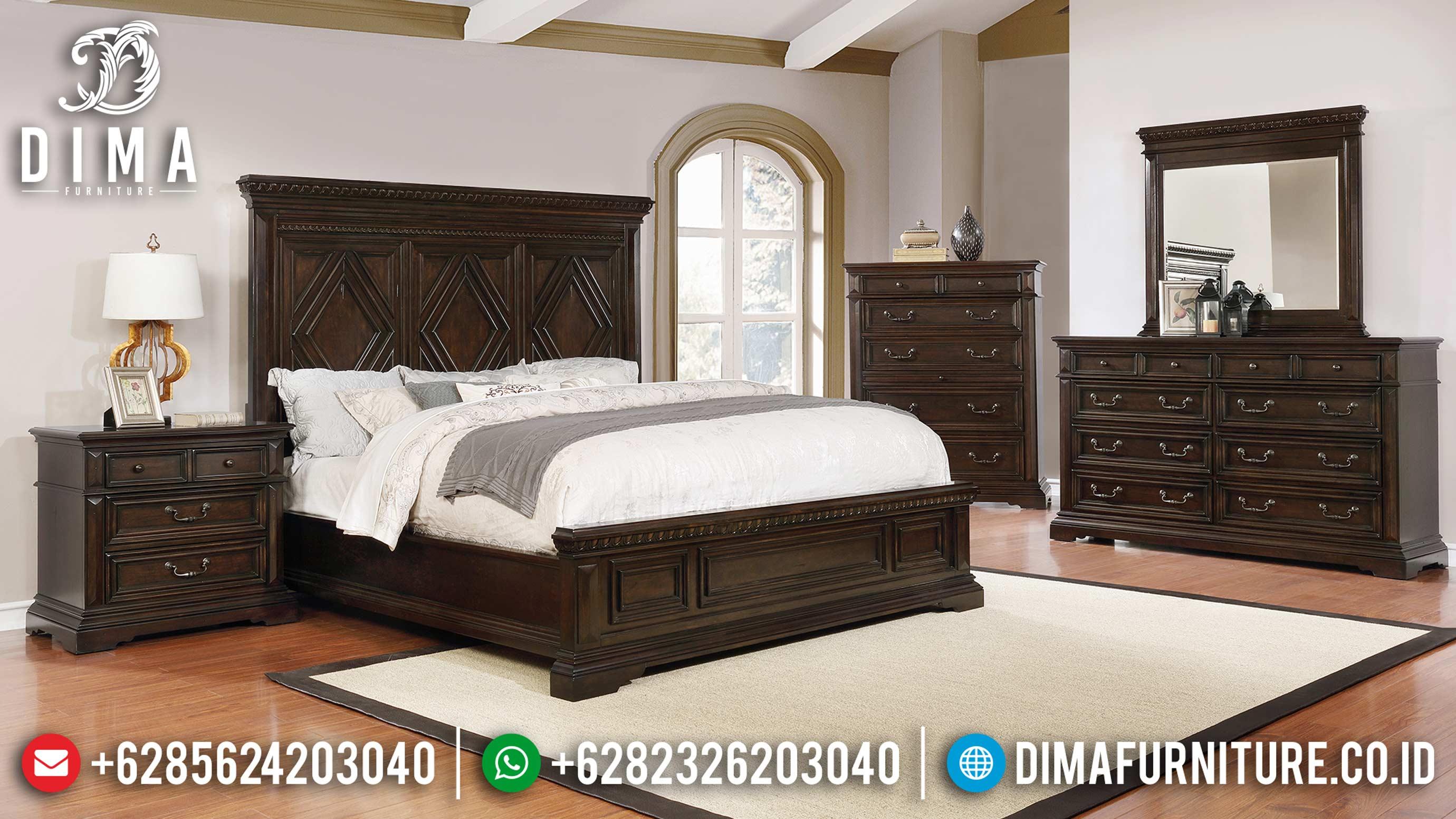 Set Kamar Tidur Minimalis Modern Jati Natural Terbaru MM-0485
