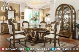 Set Meja Makan Mewah Jati Bundar Klasik Terbaru MM-0437